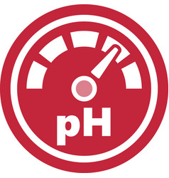 Increase of the ph red round icon vector