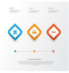 Interface icons set collection of people card vector