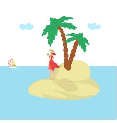 island woman vacation summer sun attractive sea vector image