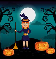 kid and halloween vector image