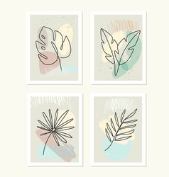 line drawing leafs palm tree modern vector image