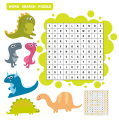 logic game for learning english find dino words - vector image