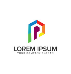 modern coloring letter p logo design concept vector image
