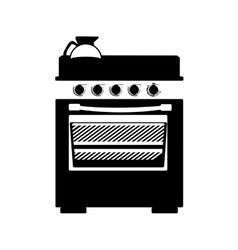 Monochrome silhouette stove with oven vector