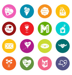 mother day icons set colorful circles vector image
