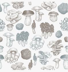 Mushrooms seamless pattern hand drawn mushroom vector