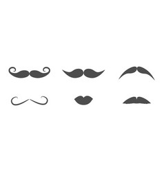 mustaches and lips icon set line moustaches hair vector image