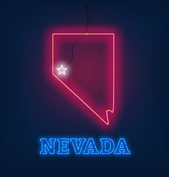 neon map state of nevada on dark background vector image