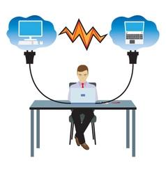 Network cloud technology vector