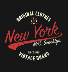 new york vintage brand graphic for t-shirt vector image
