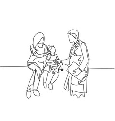 one line drawing doctor handshaking young vector image