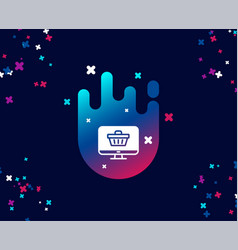Online shopping cart simple icon monitor sign vector