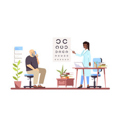 Ophthalmologist checking sight flat professional vector