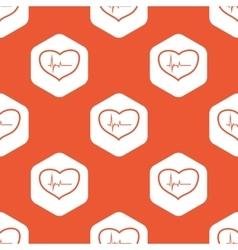 Orange hexagon cardiology pattern vector image