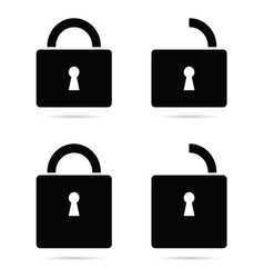 Padlock icon black vector