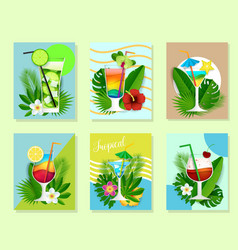 Paper cut cocktail summer drink card set vector