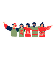 people friend group hug in christmas banner vector image