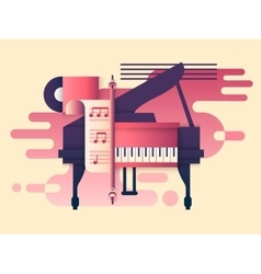 Piano design flat vector