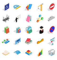 Professor icons set isometric style vector
