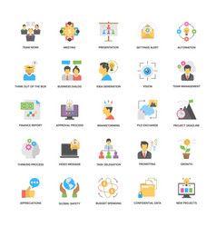 project management flat icons set vector image