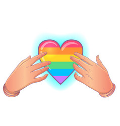 Rainbow colored heart with open hands gay pride vector