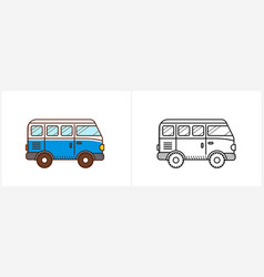 Retro travel van coloring page for kids vector