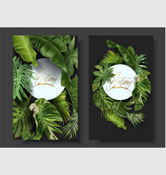 Round banners with green tropical leaves vector