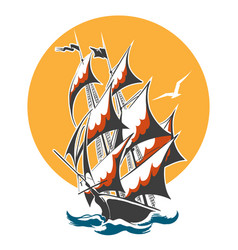 Sail ship colorful emblem vector