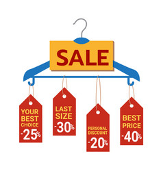 sale banner hanging on the hanger vector image
