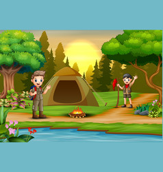 Scout boys on campsite with tent and backpack vector