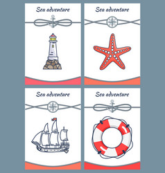 sea adventure placards set vector image
