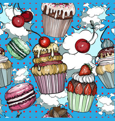 seamless pattern with cakes and cupcakes pop art vector image
