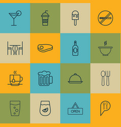 set of 16 food icons includes soda drink hot vector image