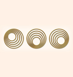 set of golden eccentric circle frames vector image