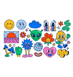 Set of rave symbols vector