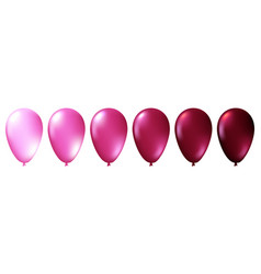 set of realistic isolated pink balloons vector image