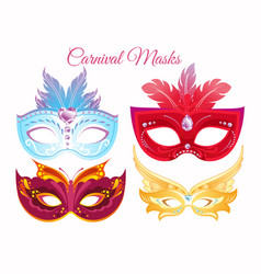Set venetian painted carnival vector