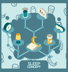 sleep color concept isometric icons vector image