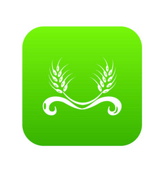 Solar wheat icon green vector