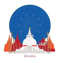 Sri lanka landmarks with decoration background vector