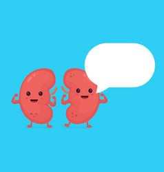 Strong healthy happy kidneys character vector