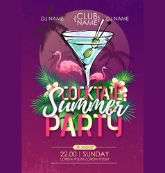 Summer beach party disco poster with cocktail vector