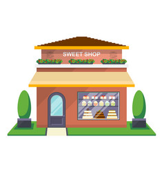 Sweet shop facade isolated icon vector