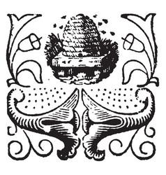 This doodad beehive vintage engraving vector