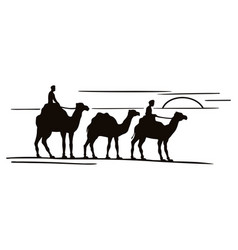 three camels silhouettes in caravan vector image