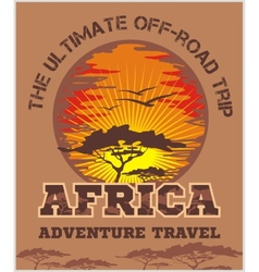 Travel Africa - extreme off-road emblem vector image