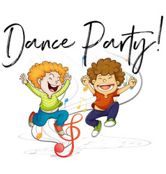 Two boys dancing and words dance party vector