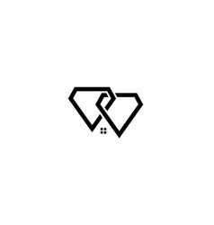 Two diamond with home or house or real estate vector