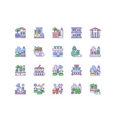 Urban farming rgb color icons set vector