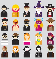 Various People Symbol Icons Fancy Mask Set vector